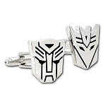 Transformer Autobot and Decepticon Silver Cuff Link Pair - [7/8
