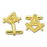 Square & Compass Gold Masonic Cuff Link Pair - [3/4