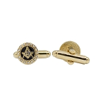 Square & Compass with Rhinestones Masonic Cuff Link Pair - [Gold & Black][3/8
