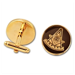 Past Master Round Masonic Cuff Link Pair - [Black & Gold][3/4