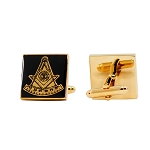 Past Master Square Masonic Cuff Link Pair - [Black & Gold][3/4