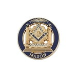 Square & Compass with Double Column Round Masonic Lapel Pin - [Blue & Gold][1'' Diameter]