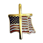 American Flag with Cross Lapel Pin - [Gold & Red][1