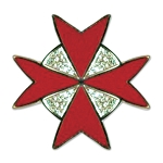 Maltese Cross Masonic Lapel Pin - [Gold & Red][7/8