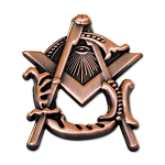 Antique Copper Square & Compass Masonic Lapel Pin - [1