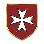 Maltese Cross Red Shield with White Cross Masonic Lapel Pin - [Red & White][3/4