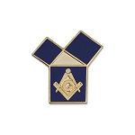 Euclid's 47th Problem with Square & Compass Masonic Lapel Pin - [Blue & Gold][1'' Tall]