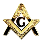 Entered Apprentice Square & Compass White & Gold Masonic Lapel Pin - [1