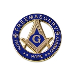 Faith Hope Charity Square & Compass Round Blue & Gold Masonic Lapel Pin - [1 1/4