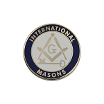 International Masons Round Masonic Lapel Pin - [Blue & White][1'' Diameter]
