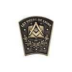 Let There Be Light Keystone Antique Brass Masonic Lapel Pin - [1