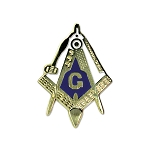 Working Tools Square & Compass Masonic Lapel Pin - [Gold & White][1'' Tall]