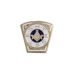 Mark Keystone White & Gold Masonic Lapel Pin - [3/4