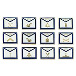Officer Apron (Set of 12 Pins) Masonic Lapel Pin - [Blue & White][3/4'' Wide]