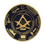 Seven Liberal Arts Working Tools Round Masonic Lapel Pin - [Blue & Gold][1'' Diameter]