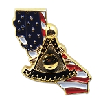 Past Master California American Flag Masonic Lapel Pin - [Gold & Blue][3/4'' Tall]