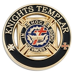Knights Templar Round Masonic Lapel Pin - [Black & Gold][1 1/4