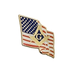 Waving American Flag with Square & Compass Masonic Lapel Pin - [Gold & Red][7/8