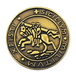 Knights Templar Seal Crusaders Solomon's Temple Round Masonic Lapel Pin - [Antique Brass][7/8