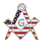 American Flag Square & Compass Masonic Lapel Pin - [White & Red][3/4