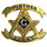 Further Light Square & Compass Gold Masonic Lapel Pin - [1 1/8