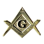 Let There Be Light Square & Compass Masonic Lapel Pin - [Gold & Black][1'' Wide]