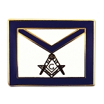 Square & Compass Master Mason Apron Masonic Lapel Pin - [Blue & White][3/4'' Wide]