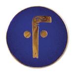 Tubal Cain Round Masonic Lapel Pin - [Blue & Gold][1'' Diameter]
