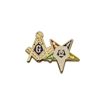 Square & Compass and Order of the Eastern Star Masonic Lapel Pin - [Gold & Blue][1