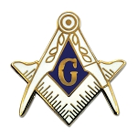 Square & Compass White & Gold Masonic Lapel Pin - [1