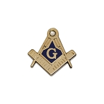 Square & Compass with Rhinestone Masonic Lapel Pin - [Blue & Gold][3/4'' Tall]