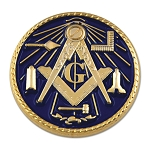 Working Tools Square & Compass Round Blue Masonic Lapel Pin - [1