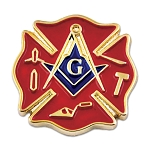 Firefighter Working Tools Square & Compass Masonic Lapel Pin - [Red & Gold][3/4