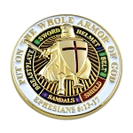 Knights Templar Put on the Whole Armor of God Round Masonic Lapel Pin - [White & Gold][1