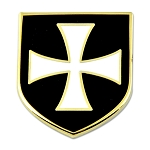 Knights Templar Crusader White Cross Black Shield Masonic Lapel Pin - [Black & White][1'' Tall]