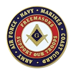 Freemasons Support Our Troops Round Blue & Red Masonic Lapel Pin - [1