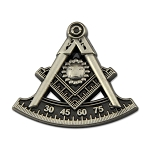 Past Master Masonic Lapel Pin - [Antique Silver][7/8'' Tall]
