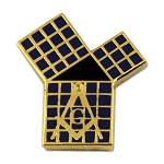Euclid's 47th Proposition with Grid Masonic Lapel Pin - [Blue & Gold][3/4'' Tall]