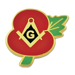 WWII Poppy Flower of Remembrance Lest We Forget Square & Compass Masonic Lapel Pin - [Red & Gold][3/4