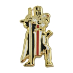 Christian Army Knights Templar Crusader Masonic Lapel Pin - [Gold & Black][1