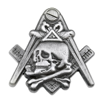 Widow's Son Skull Square & Compass Masonic Lapel Pin - [Antique Silver][1'' Tall]