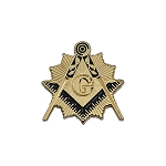 Shining Square & Compass Masonic Lapel Pin - [Gold & Black][3/4