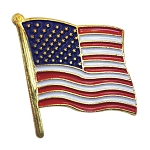 American Flag Lapel Pin - [Red & White][1'' Tall]