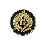 Shining Square & Compass Round Masonic Lapel Pin - [Black & Gold][1