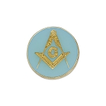 Square & Compass Round Masonic Lapel Pin - [Blue & Gold][7/8'' Diameter]