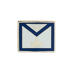 Past Master Apron Masonic Lapel Pin - [Blue & White][3/4'' Wide]