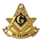 50 Years Square & Compass with Rhinestone Masonic Lapel Pin - [Gold & Black][1'' Tall]