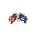 American Flag with Square & Compass Flag Masonic Lapel Pin - [Red & Blue][1'' Wide]
