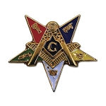 Order of the Eastern Star Patron Masonic Lapel Pin - [Gold & Blue][1'' Tall]