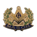 Wreathed Square & Compass Masonic Lapel Pin - [Blue & Green][1'' Wide]